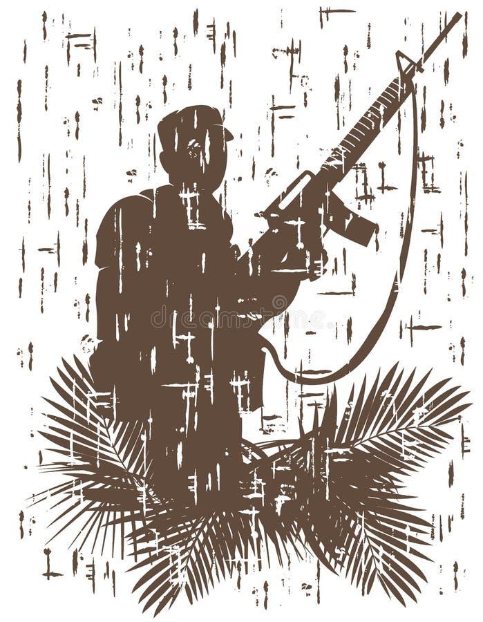 Silueta del soldado en la acción ejemplo del vector en el estilo 3 del grunge libre illustration