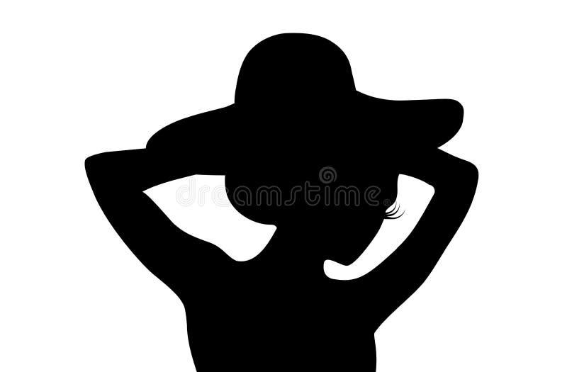 Silueta del sombrero de la persona que lleva femenina en el fondo blanco Diseño de la ilustración ilustración del vector