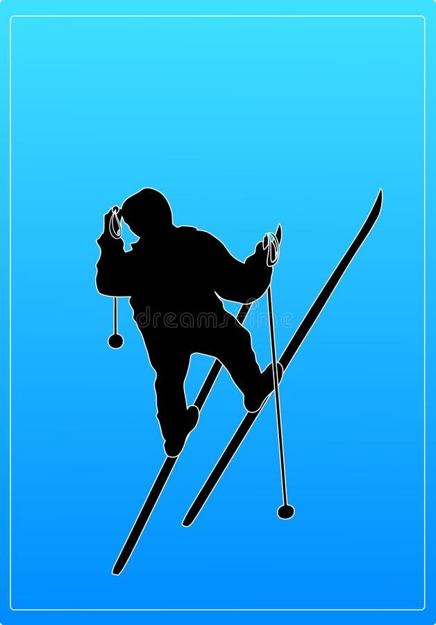 Silueta del sombrero del esquiador que desgasta stock de ilustración