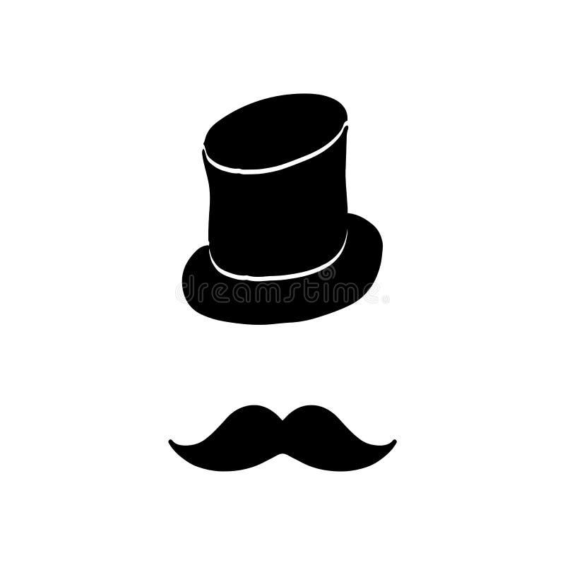 Silueta del sombrero del vintage y ilustración del vector