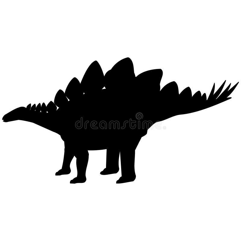 Silueta del Stegosaurus stock de ilustración