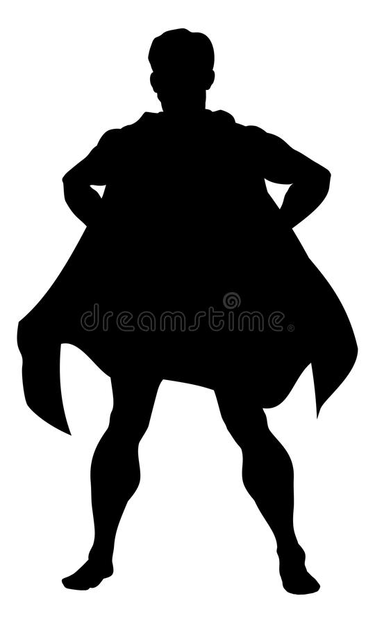 Silueta del superhéroe stock de ilustración