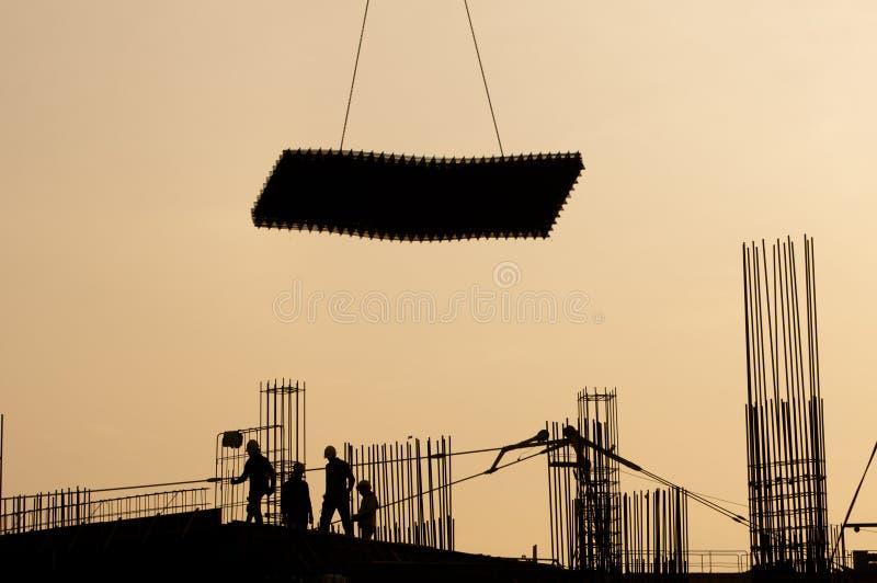 Silueta del trabajador de construcción fotos de archivo libres de regalías