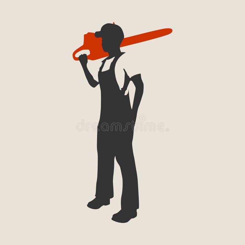 Silueta del trabajador del leñador stock de ilustración