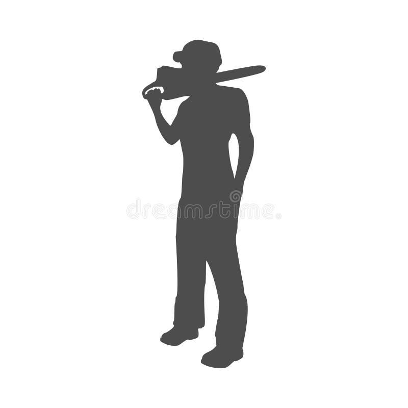 Silueta del trabajador del leñador ilustración del vector