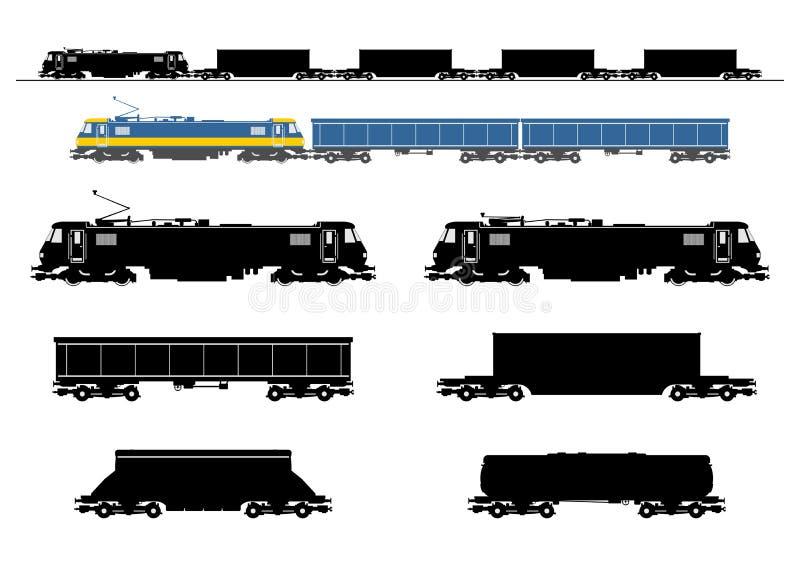 Silueta del tren de carga libre illustration