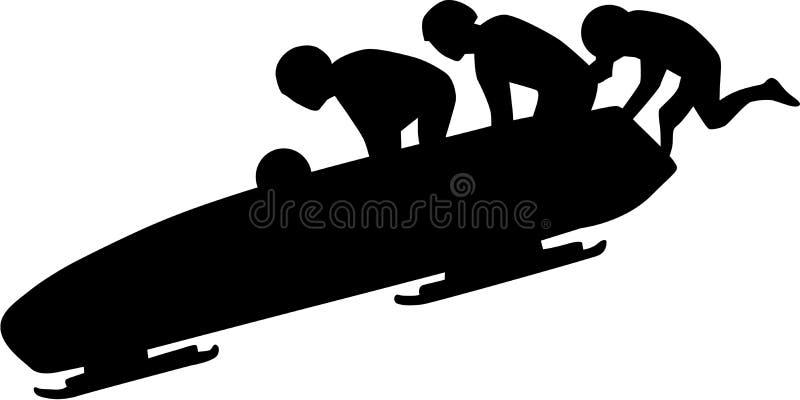 Silueta del trineo stock de ilustración