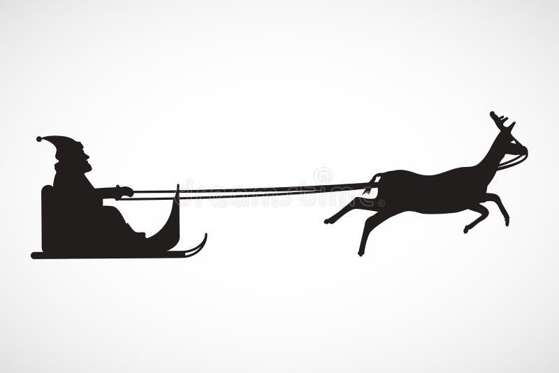 Silueta del trineo con Santa Claus y el reno, vector libre illustration