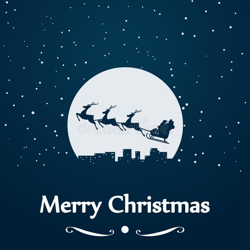 Silueta del trineo de Papá Noel en la luna stock de ilustración