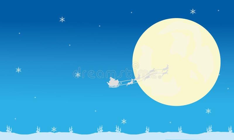 Silueta del trineo de santa y de la Luna Llena libre illustration
