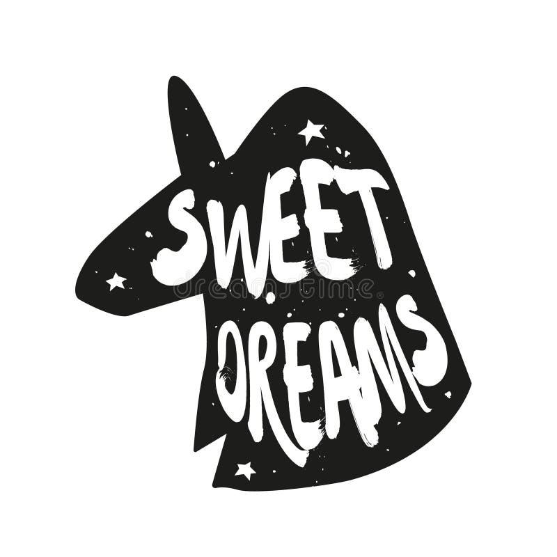 Silueta del unicornio con sueños dulces del texto de las letras Etiqueta engomada verde del vector stock de ilustración