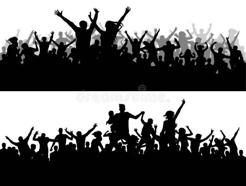 Silueta del vector del concierto de la muchedumbre Fans del campeonato de los deportes Un grande del partido popular ilustración del vector