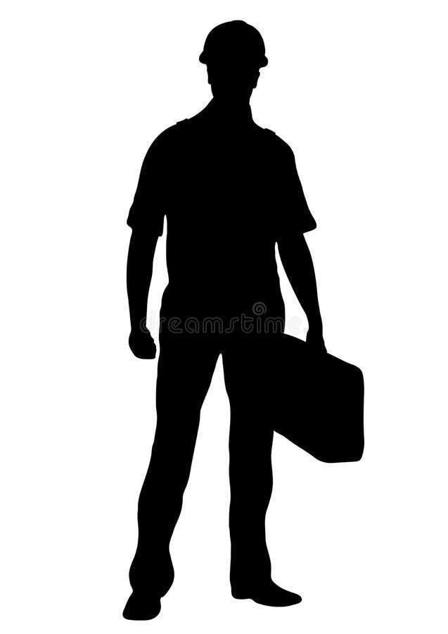 Silueta del vector del constructor, reparador de sexo masculino del trabajador del esquema que coloca a la parte delantera integr libre illustration