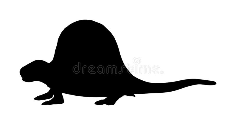 Silueta del vector de Dimetrodon aislada en blanco Símbolo de los dinosaurios Era jurásica Muestra de Dino Silueta del dragón del libre illustration