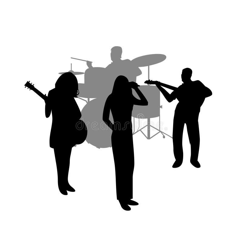 Silueta del vector de la banda de rock ilustración del vector