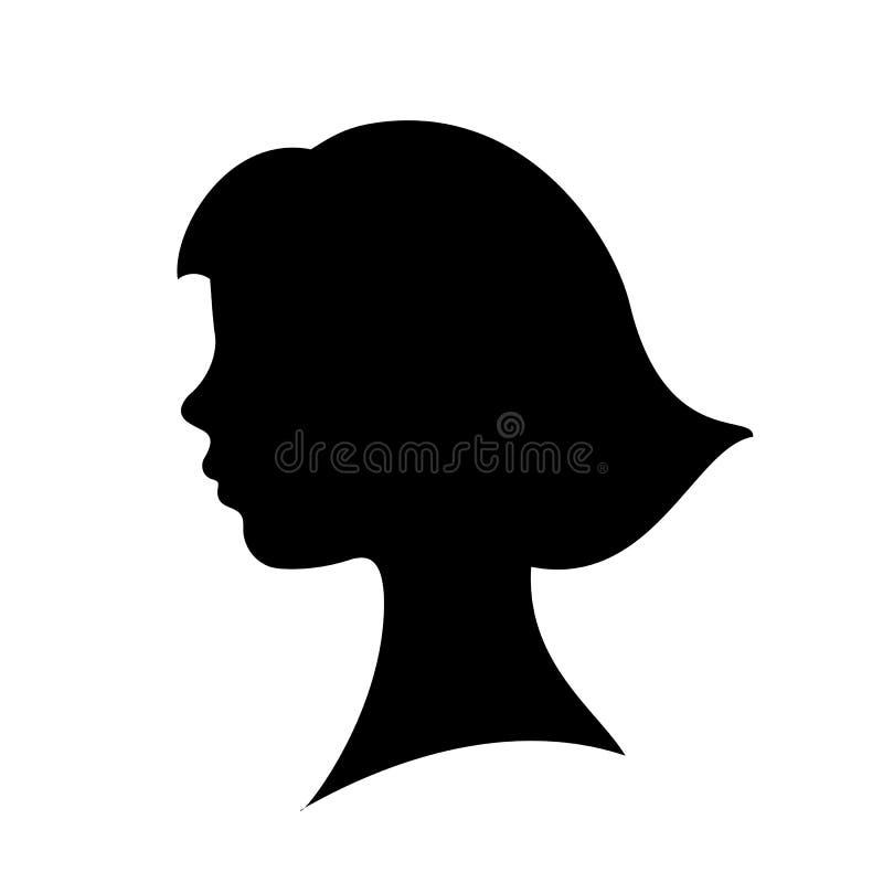 Silueta del vector de la cara de la chica joven libre illustration