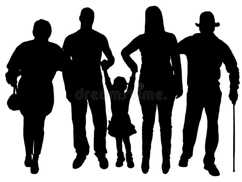 Silueta del vector de la familia stock de ilustración