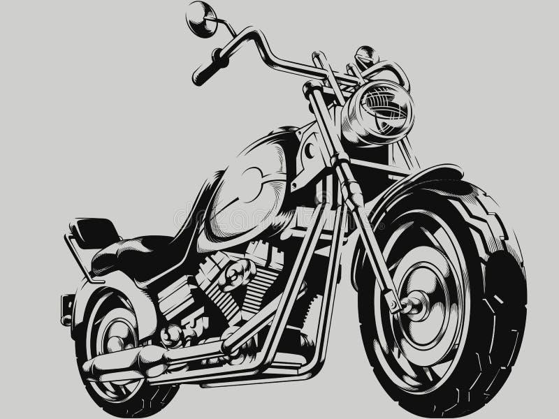 Silueta del vector de la motocicleta del vintage ilustración del vector