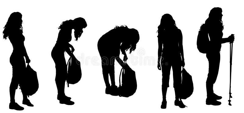 Silueta del vector de la mujer stock de ilustración