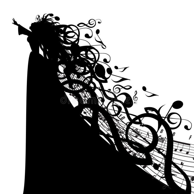 Silueta del vector de la mujer con símbolos musicales libre illustration