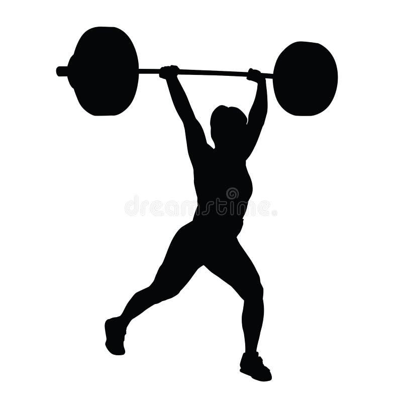 Silueta del vector de la mujer del levantamiento de pesas libre illustration