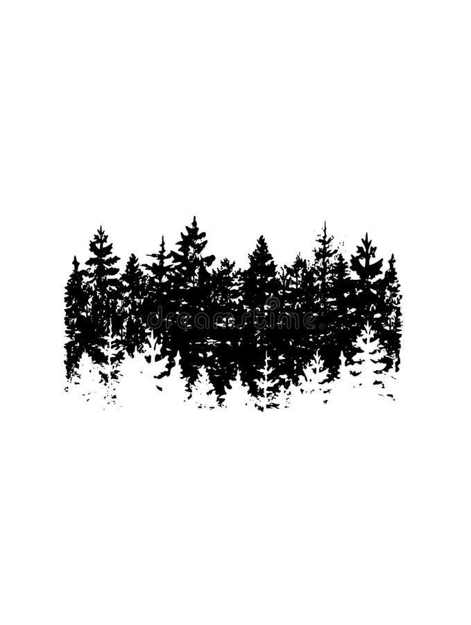 Silueta del vector de los árboles de navidad Silueta de la bandera del vector del bosque del pino libre illustration