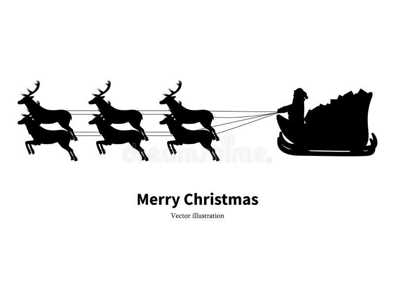 Silueta del vector de Santa Claus en trineo stock de ilustración