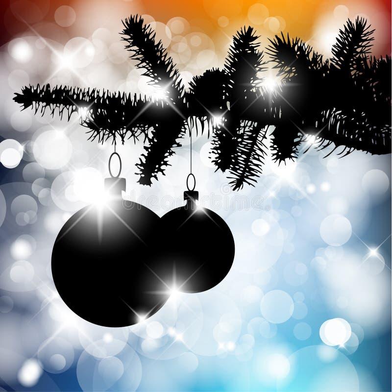 Silueta del vector de un árbol de navidad con los bulbos stock de ilustración