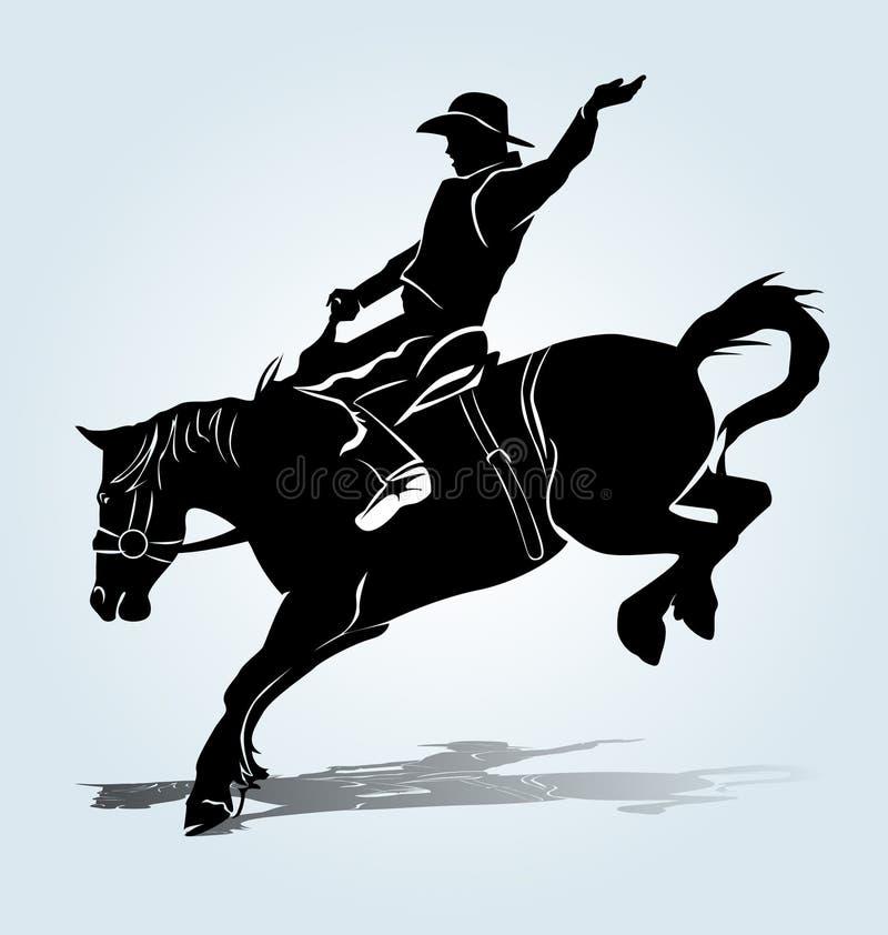 Silueta del vector de un jinete de rodeo libre illustration