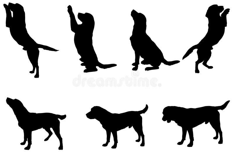 Silueta del vector de un perro stock de ilustración