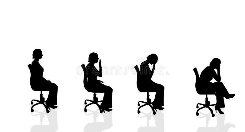 Silueta del vector de una mujer stock de ilustración