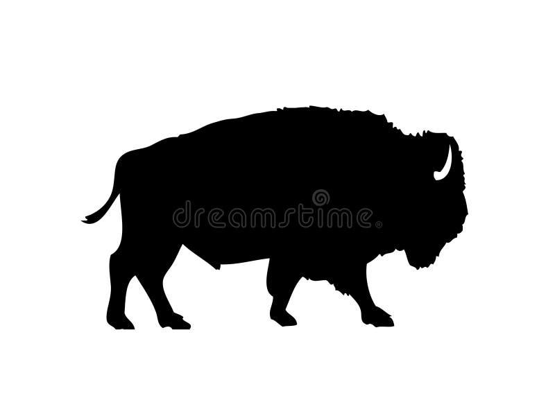 Silueta del vector del bisonte americano ilustración del vector