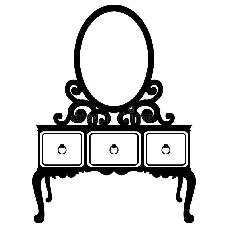 Silueta del vector del espejo de la consola libre illustration