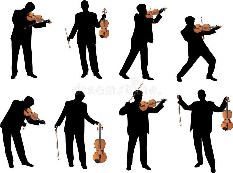 Silueta del vector del jugador del violín ilustración del vector