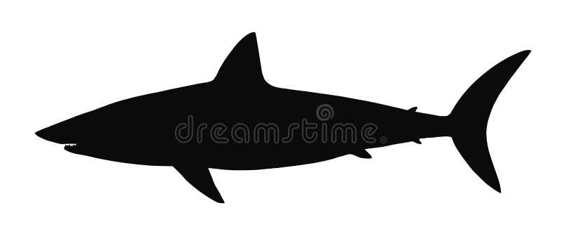Silueta del vector del tiburón. ilustración del vector