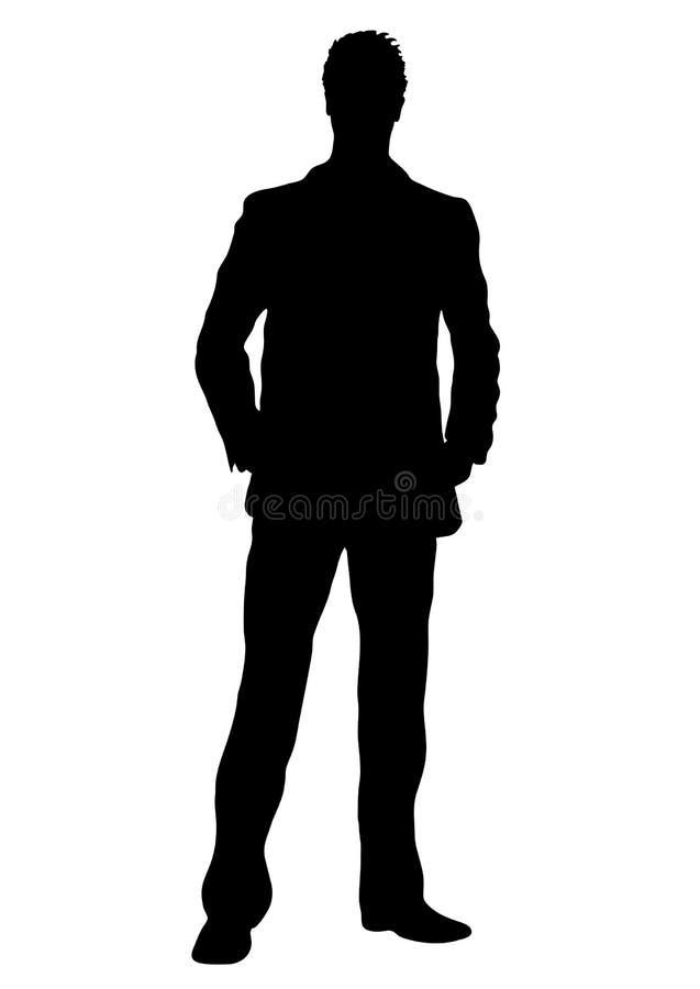Silueta del vector del hombre de negocios, varón del retrato del esquema que maneja en el traje que coloca la parte delantera int ilustración del vector