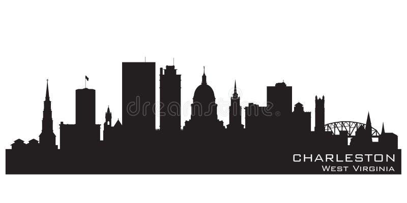 Silueta del vector del horizonte de la ciudad de Charleston West Virginia stock de ilustración