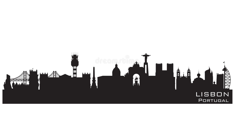 Silueta del vector del horizonte de la ciudad de Lisboa Portugal libre illustration