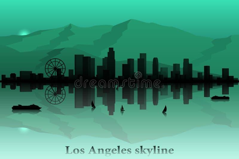 Silueta del vector del horizonte de la ciudad de Los Ángeles stock de ilustración