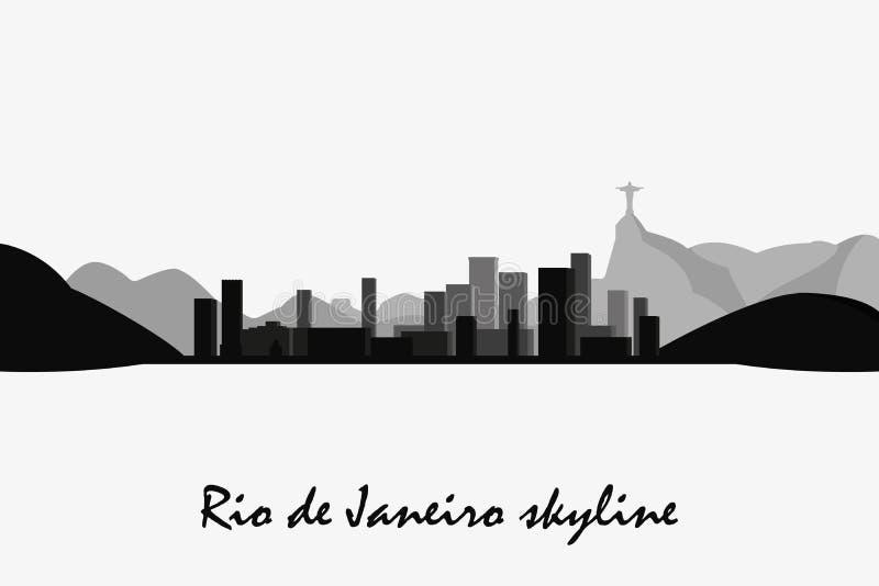 Silueta del vector del horizonte de Rio de Janeiro Paisaje urbano blanco y negro ilustración del vector