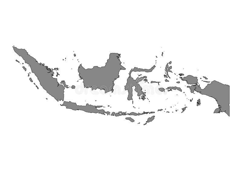 Silueta del vector del mapa del estado de Indonesia stock de ilustración