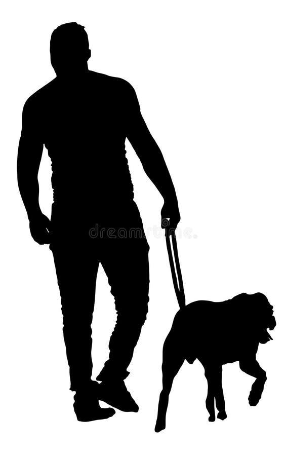 Silueta del vector del perro del hombre que camina urbano joven Muchacho trasero de la visión con el perro del guarda ilustración del vector