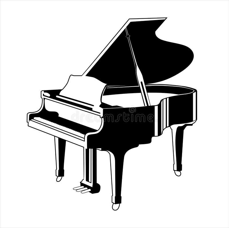 Silueta del vector del piano de cola ilustración del vector