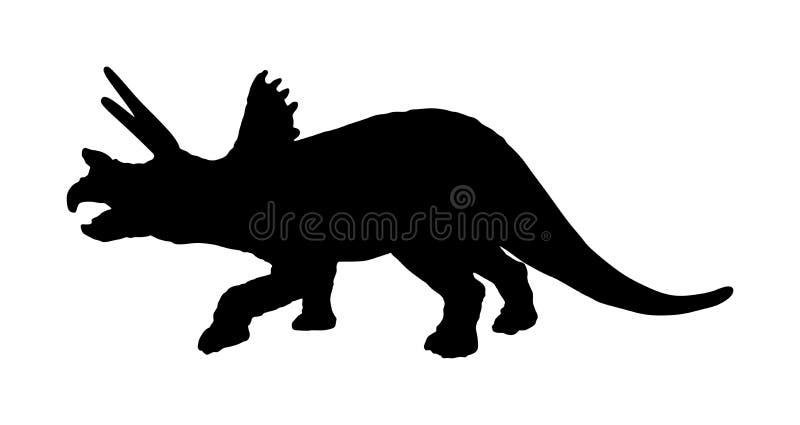 Silueta del vector del Triceratops aislada en el fondo blanco Símbolo de los dinosaurios Dinosaurio del horridus del Triceratops  stock de ilustración