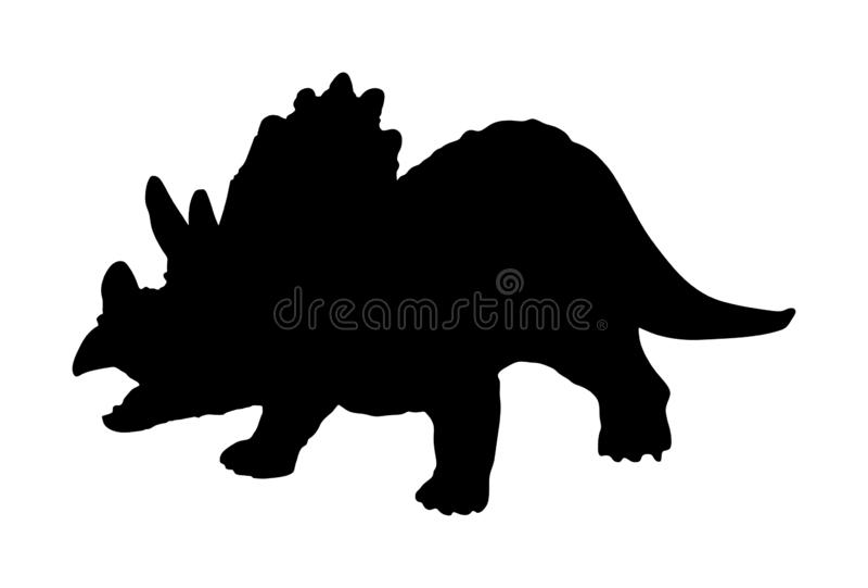 Silueta del vector del Triceratops aislada en el fondo blanco Símbolo de los dinosaurios Dinosaurio del horridus del Triceratops  libre illustration