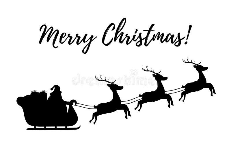 Silueta del vector del trineo con Santa Claus y los renos ilustración del vector