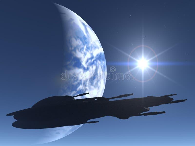 Silueta del vehículo espacial ilustración del vector