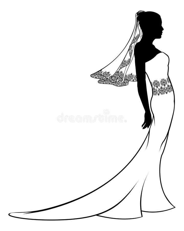 Silueta del vestido de boda de la novia stock de ilustración