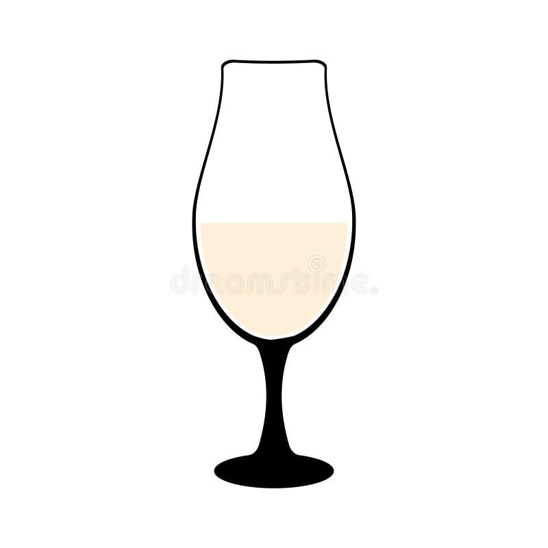silueta del Vid-vidrio de cubiletes con el vino o de bebidas aisladas en el fondo blanco Ejemplo del vector de Alkohol ilustración del vector