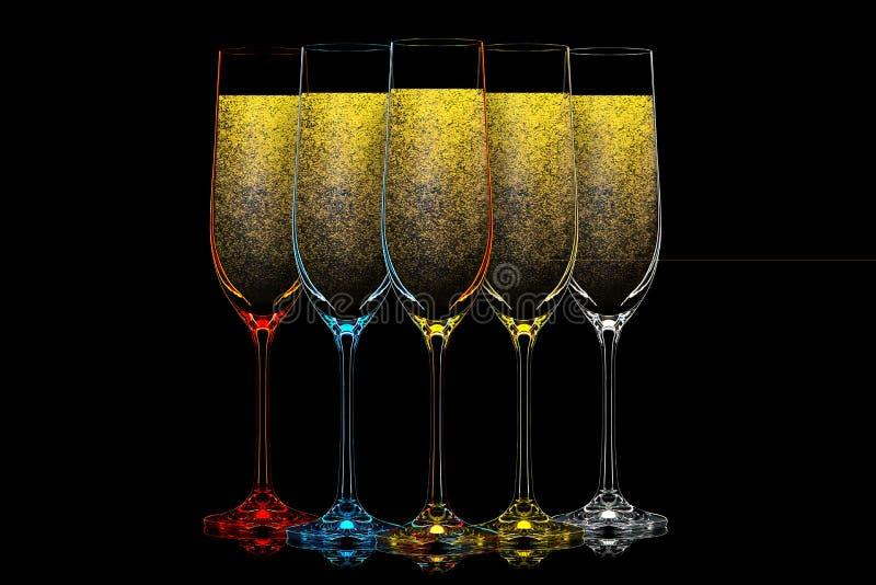 Silueta del vidrio del champán del color en negro imágenes de archivo libres de regalías